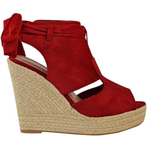 Fashion Suede Womens Platform Ankle Summer Heel Red Sandals Lace High Wedge Size Up Tie Thirsty Faux UUwqrSa