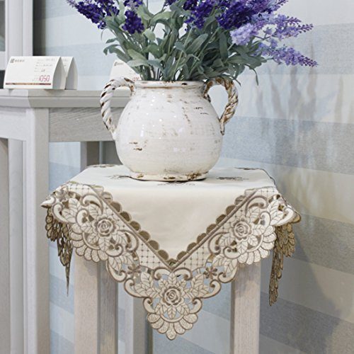 Embroidered Square Tablecloth - Brown flower embroidered lace cream tablecloth square