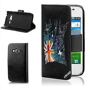 Bandera Rasgada Australia, Negro Funda de Piel Cuero Case Magnética con Función de Soporte Carcasa con Diseño Texturado para sd-samsung-galaxy-ace4