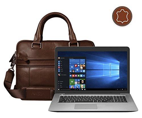 reboon Echt-Leder Laptop-Tasche in Schwarz Leder für ASUS R753UW T4079T 17 3 | 17 Zoll | Notebooktasche Umhängetasche | Damen/Herren - Unisex | Premium Qualität Braun Leder BCqKmVU