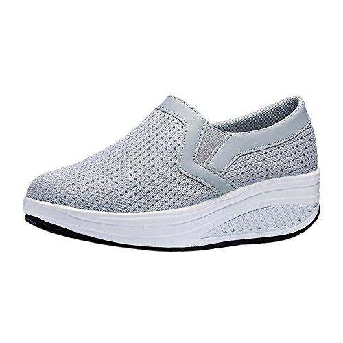 Kauneus Women Wedge Shoes Breathable Mesh Sneakers Slip On Comfort Walking Shoes Gray