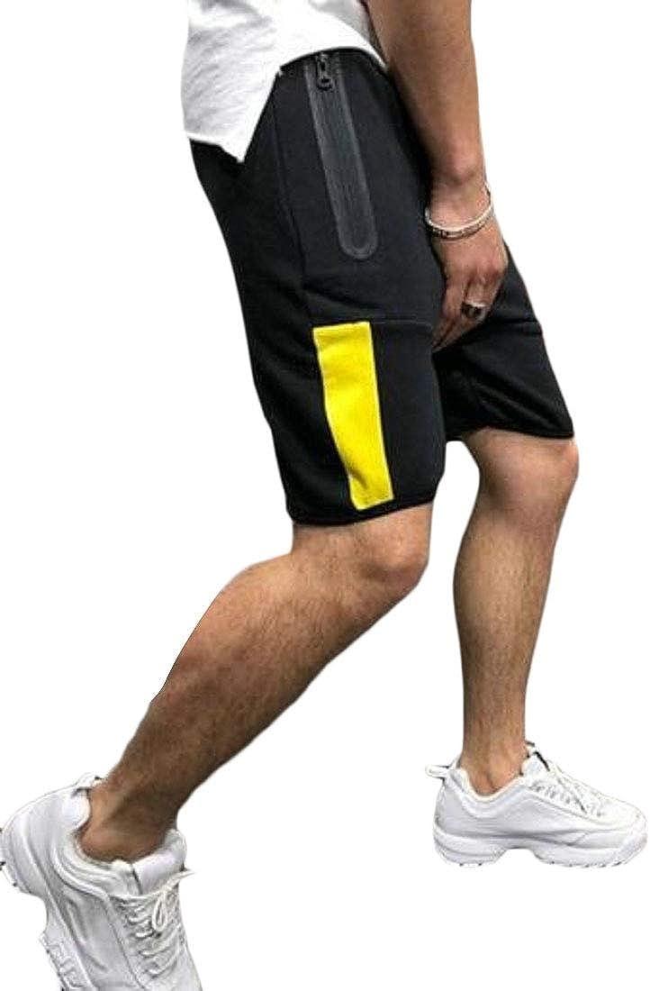 pipigo Men Gym Drawstring Running Trainning Comfy Contrast Shorts Sweatpants