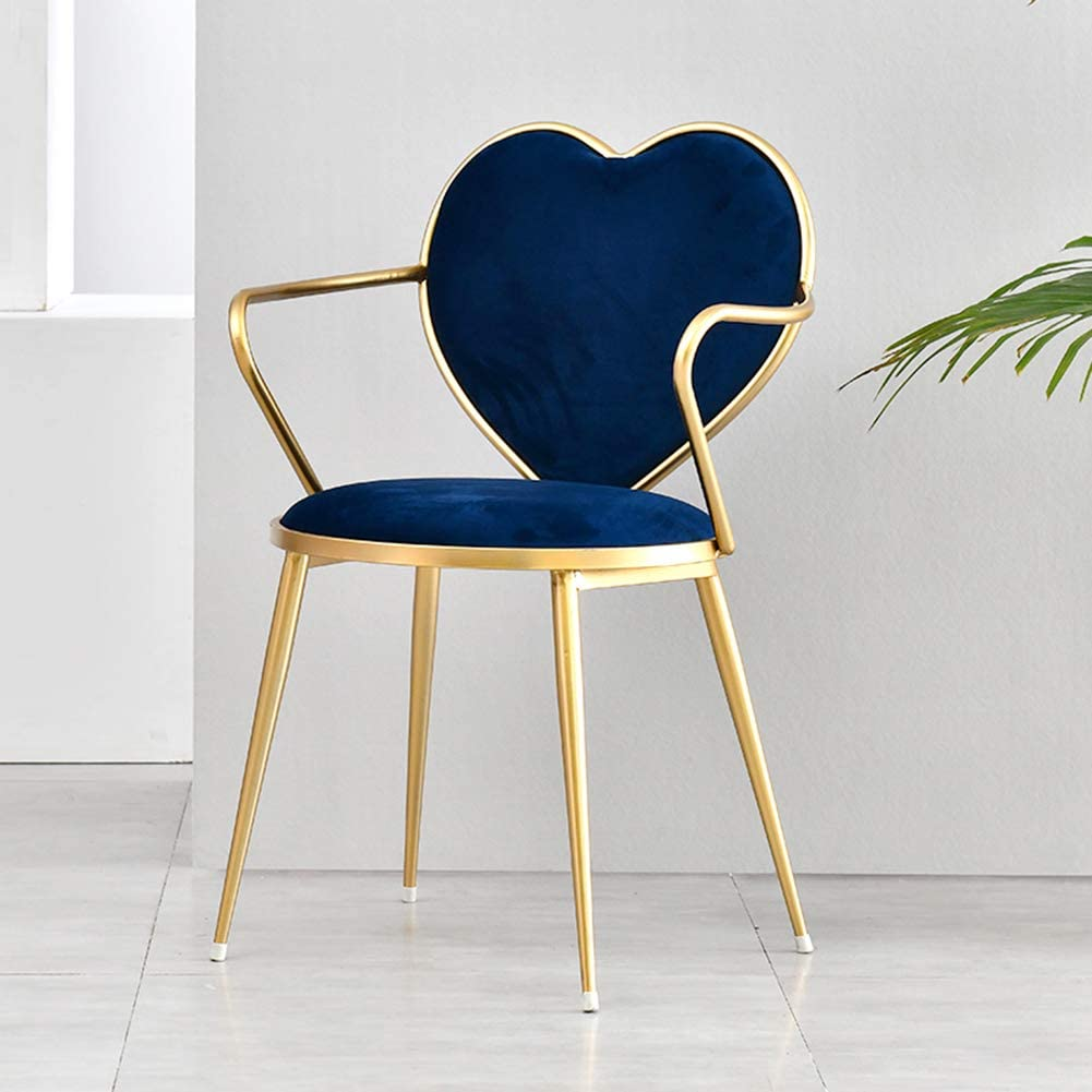 Nileco Velvet Upholstered Chair,Modern Dining Chair Side Chair Fashion Desk Chair Assembled Chairs with Metal Legs for Living Room,Kitchen Navy Blue 41lx46wx80hcm