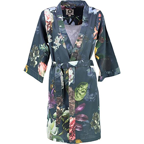 (X-Small, Night Blue) - Essenza Satin Kimono Fleur, Night Blue, X-Small