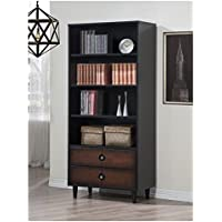 Decorative Black 2-drawer Bookcase