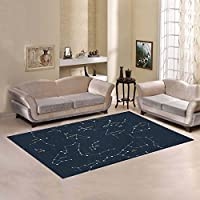 Area Rug Home Decor Constellations Stars Carpet Rugs for Living Dining Room 7x5 Inch Navy Blue