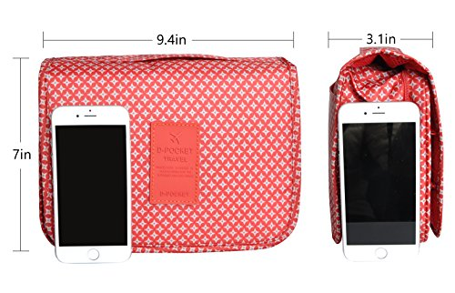 Multifunction Portable Waterproof Travel Kit Toiletry Travel Cosmetic Bag Hanging Hook For Men and Women Red by TxoLIFE (Image #2)