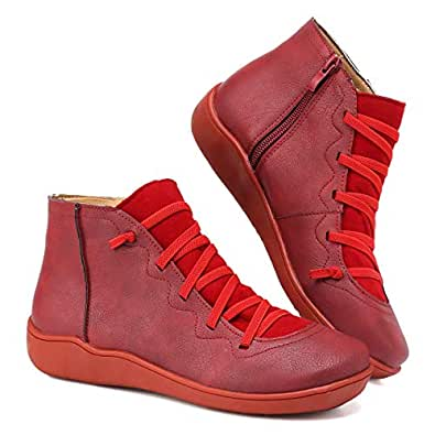 SOVIKER 2019 New Arch Support Boots Women's Side Zipper Ankle Booties Comfy Leather Flat Heel Boots-199Womens Boot-Red-35