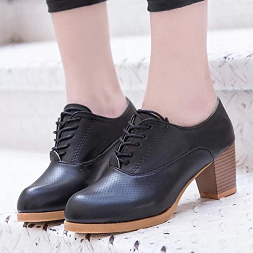 Sikye Womens Spring Fashion Shoes Square Wood Heel Lace-up Round Toe Casual Shoes Outside Black UWg9Cgq