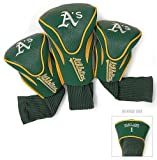 Oakland Athletics Golf Club 3 Piece Contour Headcover Set - Licensed MLB Baseball Merchandise