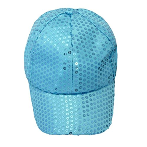 Blue Ball Cap Hat (Voberry® Women Sequins Shiny Flashy Sunscreen Baseball Hat Ball Cap Adjustable (Light Blue))