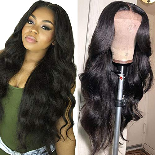 Grace Plus Hair Brazilian Body Wave Lace Front Wig 150% Density Glueless Pre-Plucked Lace Front Wigs For Black Women Natural Color Body Wave Human Hair Wigs with Baby Hair (22inches)