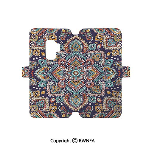 (Galaxy S9 Case,Ethnic Mosaic Like Kaleidoscope Design with Floral Swirls Image Decorative PU Leather Wallet Case Flip Folio Magnetic Shell Full Proteciton,Brown Blue Yellow and)