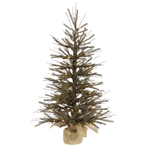 Vickerman Pre-lit Vienna Twig Tree with 20 Clear Mini Lights, 18-Inch, Brown, Green