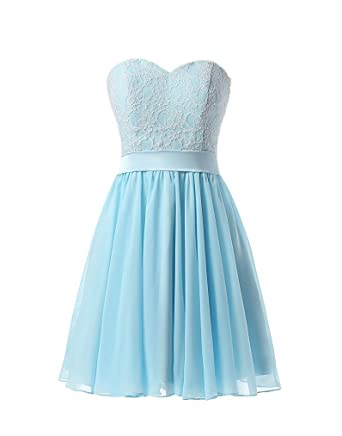 Victoria Prom Simple Sweetheart Lace Party Dresses Short Knee Length Homecoming Gown Blue us2