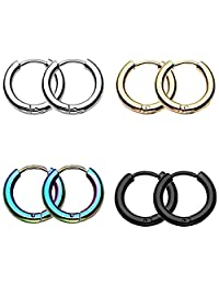 IPINK-Stainless Steel Mixed 4 Pairs 8-18MM Small Round Tube Endless Hoop Earrings, Hypoallergenic for Cartilage, Nose, Ears, Tragus