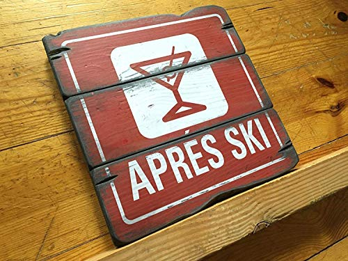 qilami 27x27 cm, Apres Ski Resort Sign Handcrafted Rustic Wood Sign Ski Resort Sign Mountain Decor for Home and Cabin 2003 862598 (Best Apres Ski Resorts)