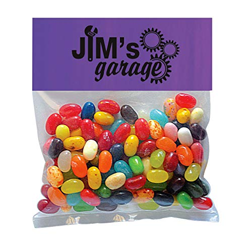Candy Gift Pack-Jelly Bellys with CUSTOMIZED Business Card Magnet in Small Header Pack- BULK Quantities-1000 per package