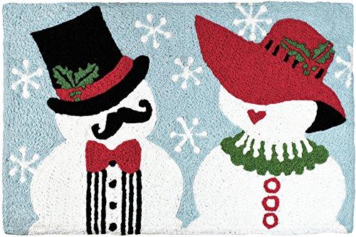Jellybean Mr and Mrs Snowman WinterHoliday Scene Accent Rug