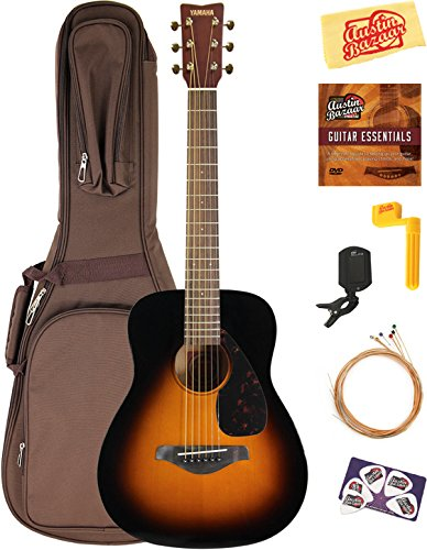 Yamaha JR2 1/2-Size Acoustic Guitar - Tobacco Sunburst Bundle with Gig Bag, Tuner, Strings, String Winder, Picks, Austin Bazaar Instructional DVD, and Polishing Cloth