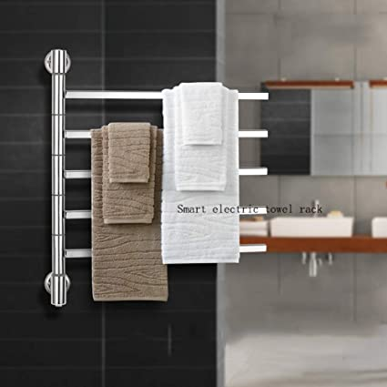 JackeyLove Calentador de Toallas termostático eléctrica climatizada toallero Panel Blanco radiador baño,C