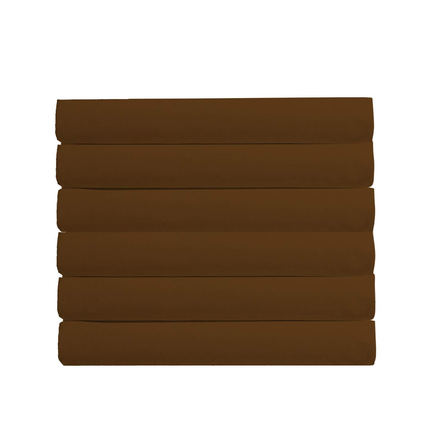 Mark Bedding Flat Sheet 6 Pack (Full Size, Solid Brown) - 600 Thread Count 100% Cotton Smooth & Durable - (Available in Bulk/Dozen) Best for Hotel, SPA, Hospitals