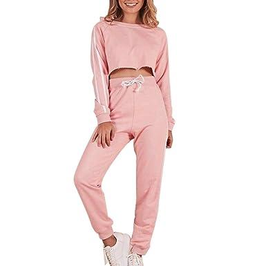a2e6e7a58 OWMEOT Womens Sports Pullover Hoodie Tracksuit Sweat Pants Set 2 Pcs (Pink,  M)