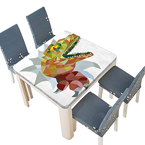 PINAFORE Indoor/Outdoor Polyester Tablecloth Low Polygon Style of a Raptor t rex Dinosaur Lizard Reptile Breaking Out of Wall Wedding Restaurant Party Decoration 49 x 49 INCH (Elastic Edge)