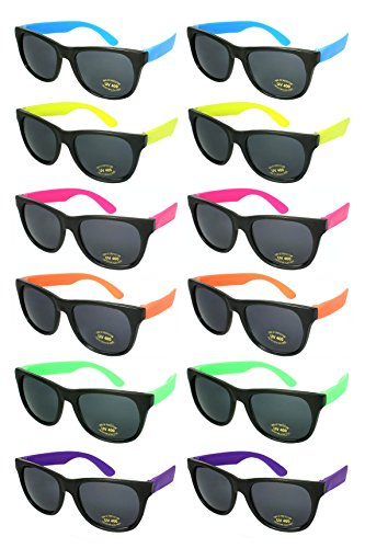 Edge I-Wear 12 Pack 80's Style Adult Neon Party Sunglasses Bridal Wedding Party Favors ()