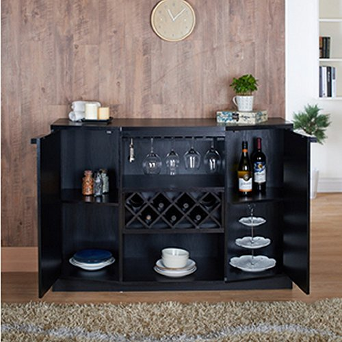 Wine BAR Buffet and Storage Cabinet with Center Glass and Wine Rack, Side Shelves, and Open Focal Point Shelf (Black) (For Sale Bar Cabinet)