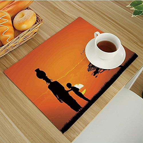 "BESSIROPDE Colour Print Placemats Set,Dining Table,Heat-Resistant Table Mats,17.5""x11.5"",Afro-Decor Child and Mother at Sunset Walking in Savannah Desert Dawn Kenya Nature Image Orange-Black"