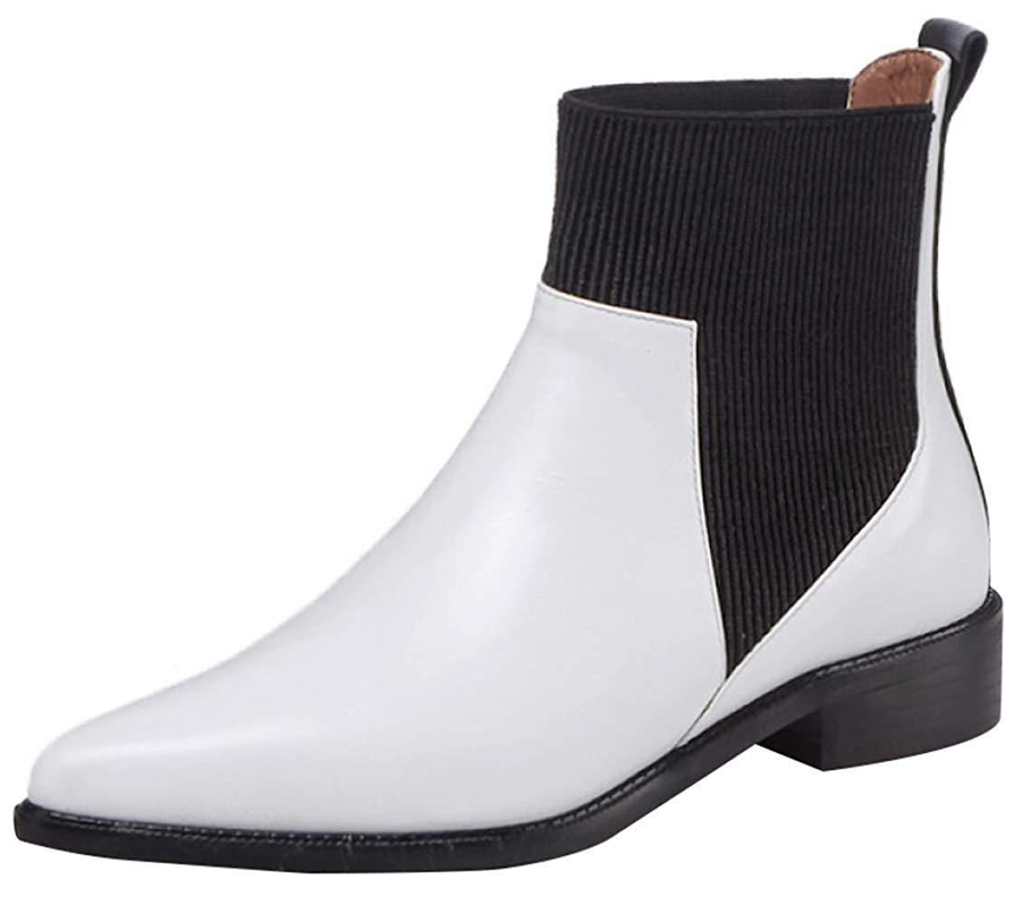 Qiusa Frauen Spitzen Kopf Mit Leder Martin Stiefel Stilvolle Und Komfortable Chelsea-Stiefel (Farbe   Weiß 1 Größe   40EU)