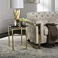 Safavieh Home Collection Kami Black and Gold Leaf Side Table