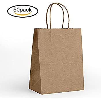 Amazon.com: COSCO Premium Small Brown Paper Shopping Bag, 50/Box ...
