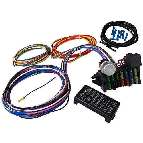 Circuit Wiring Harness Kit, 12 Circuit Universal Wiring Harness Muscle Car Hot Rod Street Rod XL Wires