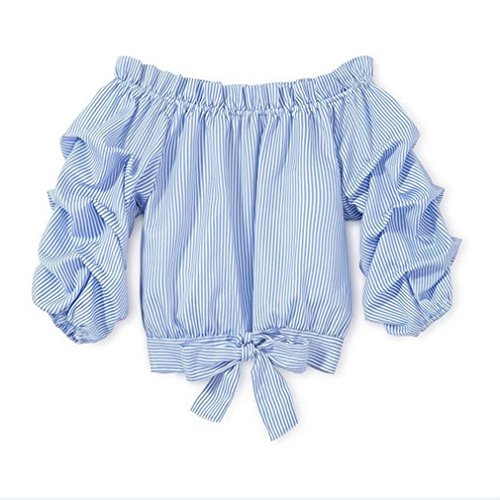 Price comparison product image 3-10Y Little Girls Kids Baby Off Shoulder Tees Striped Tie Knot Front Camis Tanks (Blue,  130 / 7-8Y)