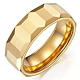 Mens Tungsten Cubes Ring Gold Engagement Wedding Band 8mm (9)