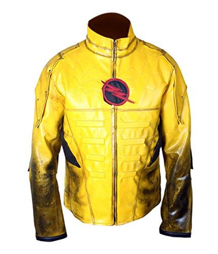 The Flash Zoom Costume (F&H Boy's Reverse Flash Eobard Thawne Zoom Yellow Lightning Jacket S Yellow)