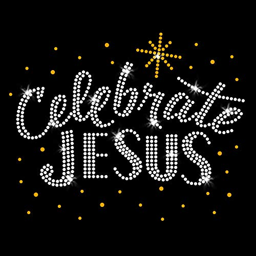 Gold Celebrate Jesus Christmas Iron On Rhinestone & Rhinestud T-Shirt Transfer by JCS Rhinestones (Christmas Iron On Transfers For T Shirts)
