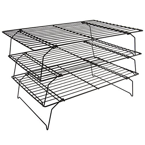 Flytt Stackable 3-Tier Cooling Rack Grid , Black , 15.7 inch x 9.8 - Cooling Rack Tiered