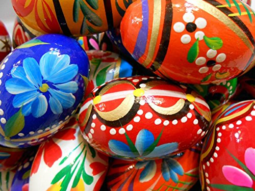 Set of 3 Polish Easter Handpainted Wooden Eggs (Pisanki) Wielkanoc [Kitchen]