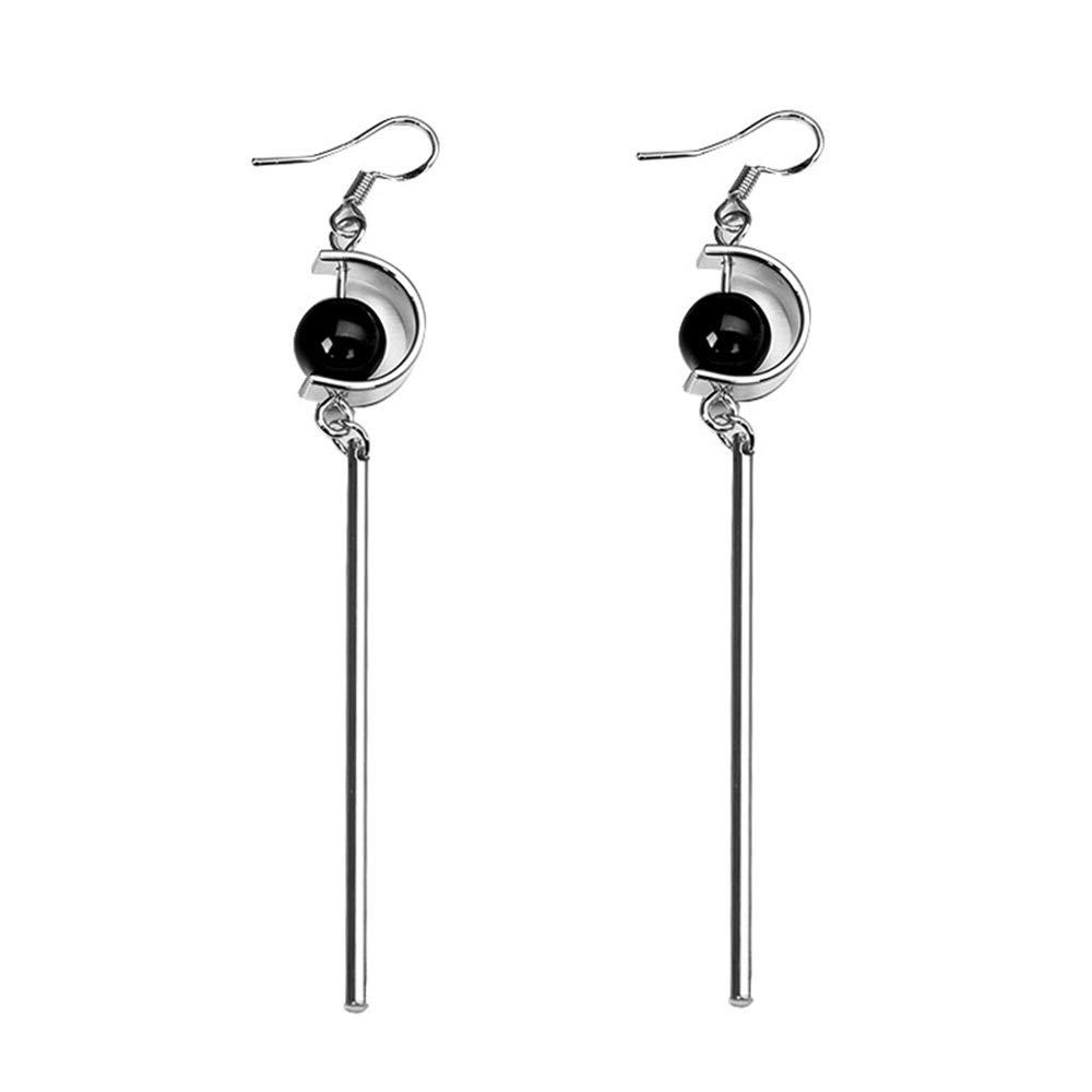 Simple Stick Bar Earrings Jewelry Trendy Minimalist Geometry Earrings with Black Stone Bead Jewelry
