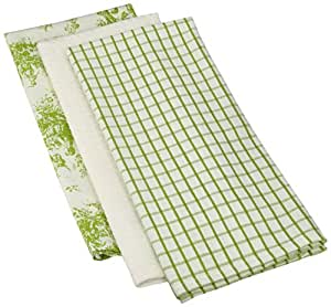 Mahogany Toile Kitchen Towel, 18 by 28-Inch, Green, Set of 3