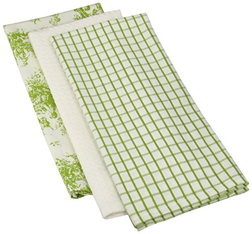 Mahogany Toile Kitchen Towel, 18 by 28-Inch, Green, Set of 3 (Toile Bath Accessories)