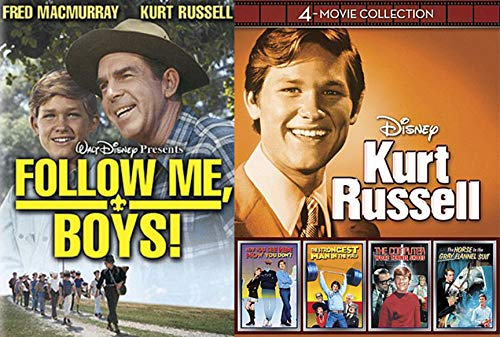 Young Kurt Russell Disney Film Collection Follow Me Boys + Strongest Man in World / Computer Wore Tennis Shoes / Horse in the Grey Flannel / Now You See Him 5 Family DVD Movie Pack