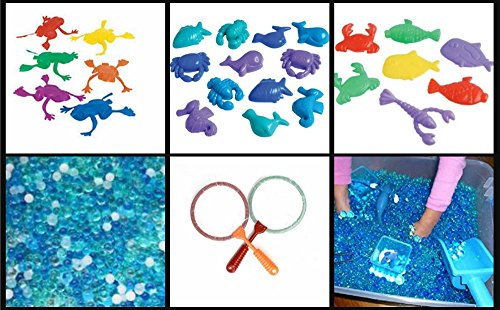 JellyBeadZ KidZ Brand for Young Children- 24 Brightly Colored Sea Life Fish, Frogs, Crabs and Lobsters to Retrieve from the Depths of 1000's of JellyBeadZ, Includes 2 Nets, Fish for Education and Fun