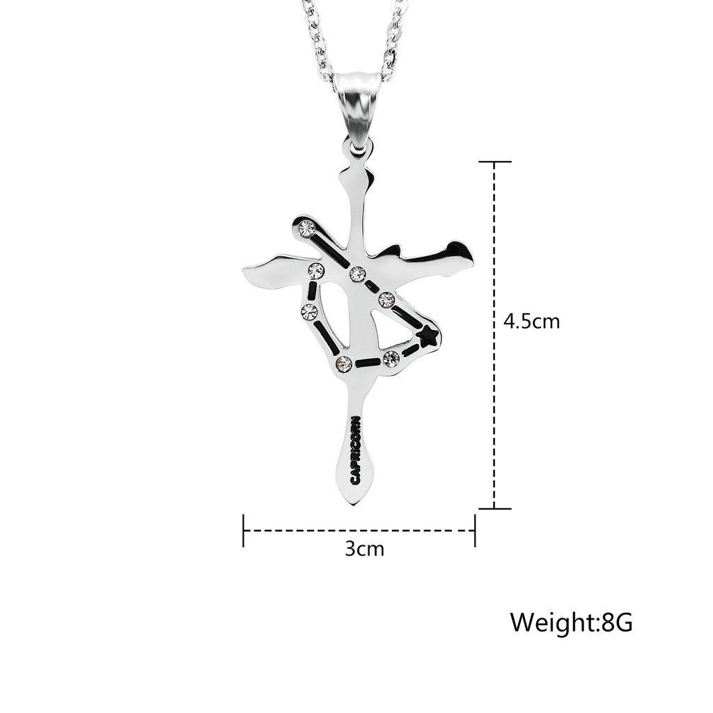 AnazoZ Joyer/ía de Moda Collar Colgante de Hombre Acero Inoxidable Zirconia Cruz Constelaci/ón Collar Colgante para Hombre