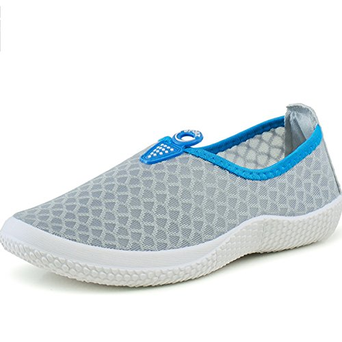 Loafer Gray Net Shoes Ladies VECJUNIA On Flats Casual Shoes Slip xwqpSH1AIF