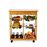 HOMFA 4-Tiers Pinewood Kitchen Rolling Cart Ceramic Trolley With Drawer & Shelves & Wine Rack Home Furniture(Nature,Double column)