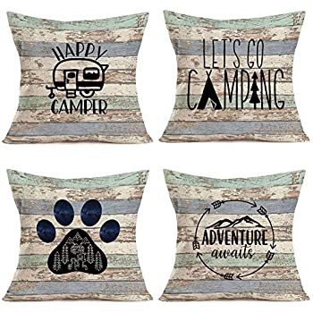 Royalours Camping Happy Camper Pillow Covers Cotton Linen Rustic Wood Background Inspirational Words Lettering Throw Pillow Cases Cushion Cover Home Sofa Office Decor 18
